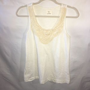 pins and needles ivory tank w beaded/crocheted bib
